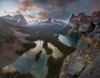Вечерний свет над Охарой / Закатные минуты над озером Охара и озерами Марии, что в Британской Колумбии, Канада