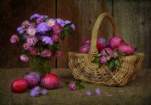 Сливовый натюрморт / Сливы, клевер и какие-то осенние цветочки, выросшие у мамы в саду