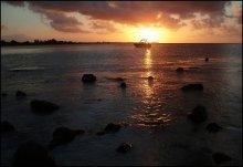 Закат в лагуне / У острова Маврикий берег извилистый, в данном месте виден не противоположный берег (до Мадагаскара еще 1000 км!), а мыс, за которым садится солнце. Весь остров окружен коралловым рифом, который отделяет глубокую часть океана от лагуны. Первые 100-400 метров от берега глубина не превышает 2-3 метра. Штормов не бывает, акул и медуз - тоже. Ну а подальше начинается настоящий океан...
