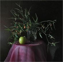 Этюд с цветным горошком... / цветы,яблоко
