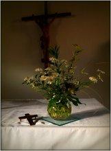Память - / интерьер с полевыми цветами