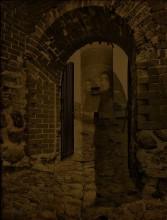 Откуда мы пришли...куда уходим?... / в основу легли две фотографии- башня с воротами в Сигулде (Латвия) и портрет монахини