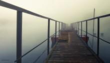 Туманным утром. / Туманное утро на №3 паромной переправе канала имени Москвы.Зимний пантон ждёт своего часа...