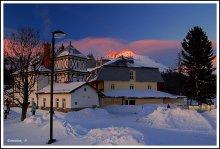 Отель на озере / Штрбское озеро в Высоких Татрах в Словакии
