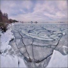 / Зимняя мозаика / / Ледостав на ММ, этот понедельник. 9 вертикальных кадров, 10мм AutoPano Pro Cokin ND4x