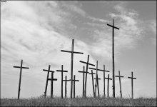 Ошмянская Голгофа (попытка №2) / Когда-то была фотография этих крестов но в цвете...