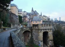 Luxembourg walls / Luxembourg card 1. The walls of old town.