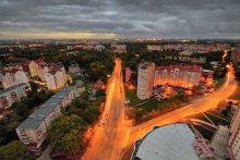 Развилка / Район вечернего Калининграда с высоты 25-ти этажной новостройки.