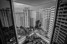 Геометрия сингапурских кварталов / вид из стандартного социального жилья в Сингапуре, декабрь 2012