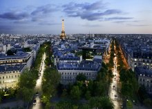 огни вечернего города / вечерний Париж, Эйфелева башня