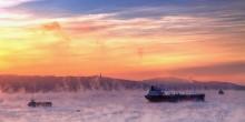 """Кольский залив """"парит"""" / Кольский залив. Мурманск. Январь 2014. -20"""