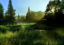 Первые лучи на рассвете... / рассвет в деревне...