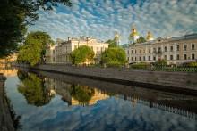 Никольский морской собор / Никольский морской собор в Санкт-Петербурге утром