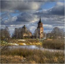 / вологда,окраина города,река вологда,храм