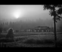 село в тумані / туман ,ранок ,село