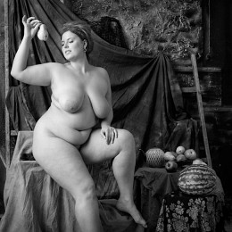 portrait of a girl with a pear /