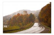 Дорога домой / Дождливая осень Польши. Туманы, мгла, мокрая дорога.