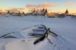 Соловецкий кремль. Зимняя открытка. / Соловки, январь 2014. Короткий приполярный день.