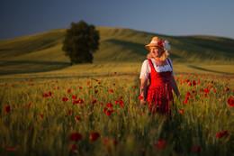 Три цвета: Красный / маки, модель, Тоскана