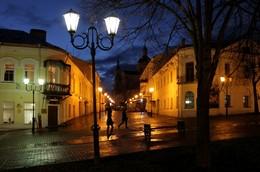 Витебские фонари / Вид из сквера Маяковского на улицу Суворова и Успенский собор вечером 11 ноября 2015