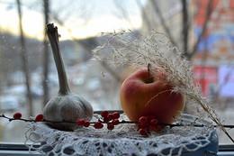 / Зимняя композиция с чесноком.