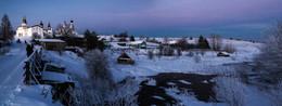 Морозный вечер Русского Севера / Ферапонтов Белозерский монастырь, река Паска - Вологодская область, Кирилловский район.