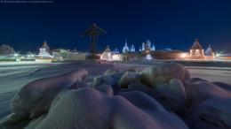 Без названия / Соловецкий монастырь со стороны бухты Благополучия морозным вечером.