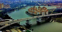 """Мост через реку """"Сингапур"""" / Сингапур."""