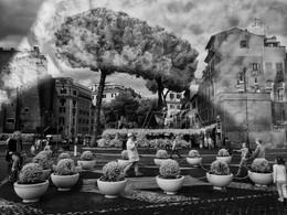 Человек шары пускает на Via dei Fori Imperiali в Риме / Человек шары пускает на Via dei Fori Imperiali
