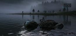 Вечерняя Бия / Поздний вечер - исток реки Бия, большая вода
