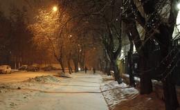 Зимний вечер / город