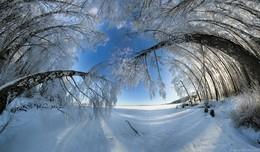 Зимний Сенеж / Солнечногорск, Россия. многорядная панорама