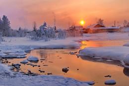 морозное марево января / Иркутская область Казачинско-Ленский район  Вечер перед долгими морозами, утром было - 45