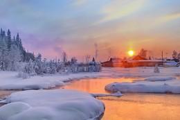 перед морозами... / Иркутская область Казачинско-Ленский район Вечер перед долгими морозами, утром было - 45