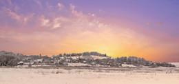 Закат над деревней. / Вечер в Слонимском районе.