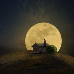 Супер-луна. / Коллаж сделан по уроку, находящемуся по этой ссылке. Линки фотографий, используемых автором,взяты со стока фотографий свободного распространения, находятся на той же странице. http://www.zanuara.com/2016/11/supermoon-dramatic-effects-photo.html