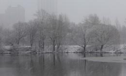 Снег в Строгино! / Весна,выпал снег.