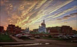 Во дворе / Кемерово, закат
