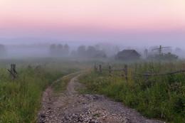 Дорога в предрассветный туман / Рассвет в окрестностях Селигера