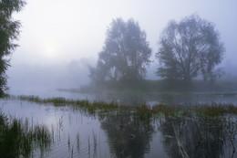 Озеро в тумане. / Лесное озеро в утреннем тумане.