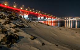 Вечерний мост Красноярска / Четвёртый мост через реку Енисей.