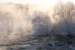 Празничная одежда реки Буг. / Когда накладывается иней. туман и солнце. Река Южный Буг . Украина.