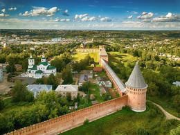 Смоленск, вид на крепостную стену / Съёмка с квадрокоптера