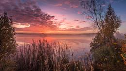 Рассвет на Архиповском озере / Панорама из четырёх вертикальных кадров.