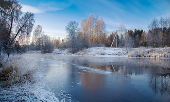 Февральское утро / Утро на реке Оредеж. Ленинградская область