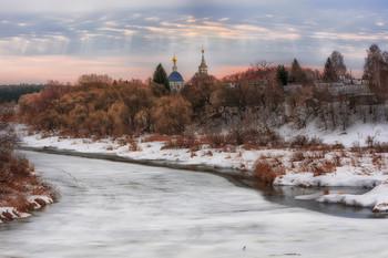 Кидекша / Март 2019 года. Владимирская обл., река Нерль с видом На Кидекшу. Хмурое утро с признаками просветления.