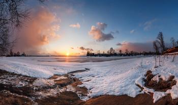 ### / Закат на озере Пено, апрель 2018. Панорама из 5 кадров пос. Пено, Тверская область