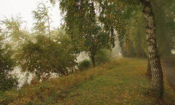 Туман осенний / На озере . Осенний пейзаж.