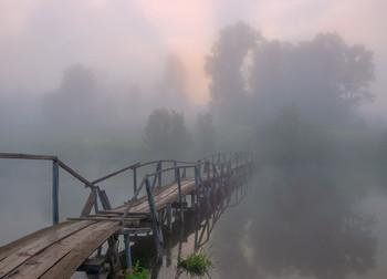 Рассвет на старом мостике / Река Суна, Фалёнский район.