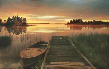 ..деревенский причал на рассвете.. / ..лето,озеро